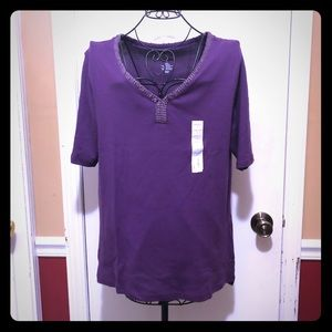 💜Purple Elbow Sleeve Blouse in V-neck💜